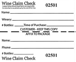 Wine Claim Check Label